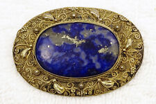Antique Chinese Gilt Silver Filigree Lapis Lazuli Brooch