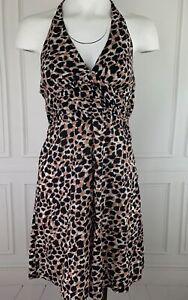 H&M Womens Size 8 Medium Backless Cheetah Print Halter Skater Sun Dress Cotton
