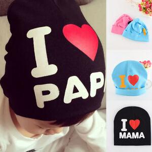 I Love MAMA Kids Baby PAPA Warm Hat Boys Girls Cute Soft CapCotton Beanie Hat CA