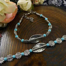 Hot Fashion Tibetan Silver Jewelry Beads Bangle Turquoise Chain Bracelets S33