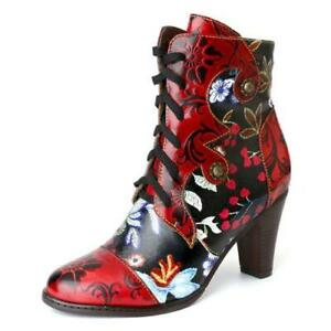 Fashion Women's Pointy Toe Block Heels Floral Print Lace up Ankle Boots Size FE