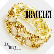 HIGH END GOLD GLASS CRYSTAL BRACELET PROM FORMAL WEDDING CHIC & TRENDYJEWELRY