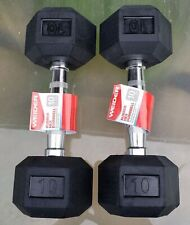 2 X 10 Lbs Dumbbells Weider Rubber Coated Pair - 20 Lbs Total Fast Free Shipping
