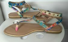 NEW LOOK LADIES RAINBOW STUDDED TOE POST FLAT BUCKLE WIDE FIT SANDALS SIZE 5