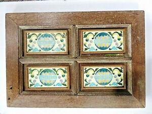 "Antique wall fixing Artifact Wood framed 3""x 6"" Ceramic tiles rustic decor # T3"