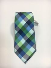 "Express Men's Skinny Narrow 100% Silk Blue Green Checkered Neck Tie 2.5"" NWT"