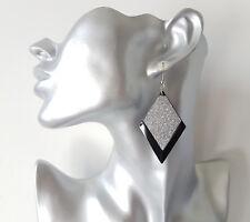 Beautiful 6cm long black metal & sparkly  glitter diamond shape drop earrings, *