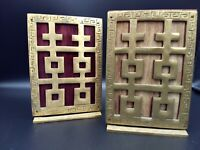 Vintage Pair Brass Bookends - Asian Style - 6-inch by 4-inch - CHARITY