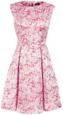 Floral Pink Jacquard Wedding Party Prom Dress 14 Boat Neck Signature Knee Length
