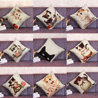 Vintage Cotton Cat Linen Pillow Case Sofa Waist Throw Cushion Cover Home Decor