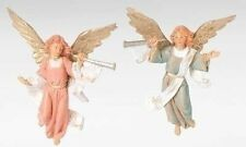 """Fontanini TRUMPETING ANGELS, Set of 2 5"""" Scale Nativity Figurine, by Roman 51503"""