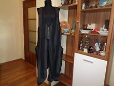 HEBBEDING GREY/BLACK STRIPED LINEN ARTY SLEEVELESS JACKET TUNIC COAT DRESS-1
