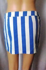 MISS SIXTY Blue & White Wide Stripe Snap Button Up Skirt, made in Italy, Small