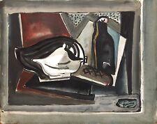 André Bouey huile et encre et collage sur papier signée nature morte cubisme