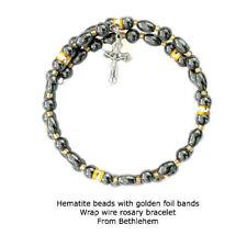 Hematite Rosary Wrap Bracelet from Bethlehem with Pewter Crucifix