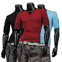 Jeansian Mens T-Shirts Top Tee V Neck Muscle Slim Fashion 10 Colors 4 Sizes D304