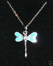 925 STERLING SILVER & TURQUOISE INLAY DRAGONFLY PENDANT