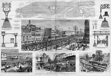 ARCHITECTURE RAPID TRANSIT NEW YORK ELEVATED RAILROAD 1878 HARPER'S WEEKLY