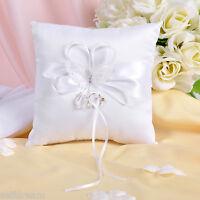GB05c  Brand New White Butterfly Wedding Ceremony Satin Ring Bearer Pillow