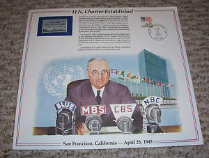 1945 UN CHARTER ESTABLISHED FDR Toward United Nations Print announcing Stamp