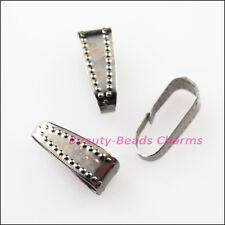 30Pcs Necklace Connectors Clip Bail End 4x11mm Gunmetal Black Plated