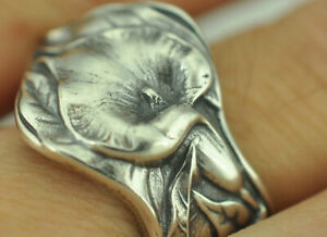 Beautiful 925 Sterling Silver Arum Calla Lily Flower Spoon Ring