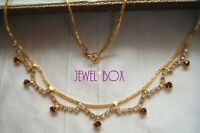 VINTAGE DAINTY AMETHYST AND CLEAR RHINESTONE CRYSTAL DROPS  CHAIN NECKLACE