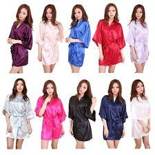 Fashion Women's Satin Robe Nightgown Sleepwear Pajamas Lingerie Night Dress UK