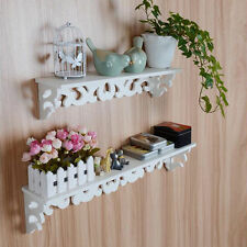 M White Wooden Carved Wall Shelf Display Hanging Rack Storage Rack Home Decor SM