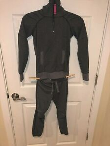 ivivva by Lululemon Gray Shiver Stopper Sweatshirt and Pants Set in Size 6-EUC
