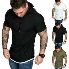 Gym Men Sleeveless Vests Pullover Hoody Hooded Tank Tops Muscle Clothes T-Shirts