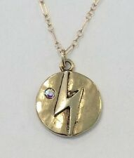 Mad Coin Rachel Abroms Antique Gold Swarovski Crystal Lightning Bolt Necklace