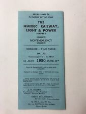 1950 QUEBEC RAILWAY LIGHT & POWER COMPANY VINTAGE TRAIN TIME TABLE BROCHURE