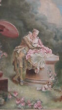 ANTIQUE 19c FRENCH HAND PAINTED COURTING SCENE HANGING TAPESTRY SIGNED ,RARE.
