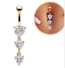 New Gold Navel Rings Love Heart Clear Crystal Belly Button Body Piercing Rings