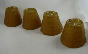 """Amber Gold Seed Beaded Clip-on Sconce Lamp Shade 4 Small LOT 4""""x5"""" Vintage"""