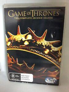 Game of Thrones DVD 5 Disc set complete season 2 region 4