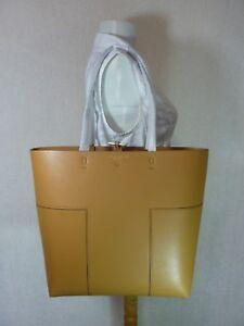 NWT Tory Burch British Tan/British Tan Leather BLOCK-T Tall Tote $478