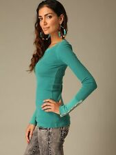 Free People Studded Embellish Cuff Teal Green Waffle Thermal Top Shirt M-L Rare