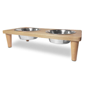 Wooden Raised Dog Bowls Double Pet Cat Stainless Steel Scandinavian Style Small