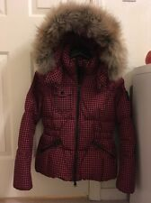 COACH Gingham Check Short Down Puffer Coat Jacket With Fur Hood $629