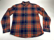 Burton Menswear London Men's Long Sleeve Navy Orange Check Fitted Shirt Medium M