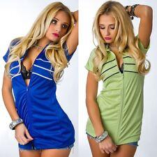 Trendy Leichte Damen-Jacke Weste Sport-Look Kurz-Arm Grün Blau  34 36 38 40 NEU