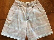 "Bonjour High Waisted Sz8 26"" Waist muted multi color Jean Shorts 80s Retro"