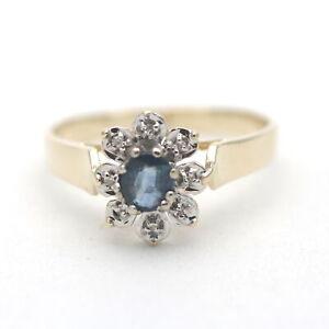 Diamant Saphir Ring 585 Gold 14 Kt Bicolor Wert 320,-