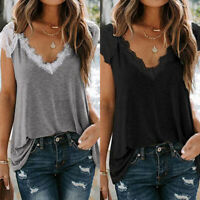 Women Sexy Lace V-neck Cami Ladies Sleeveless Strappy Loose Vest Tank Tops Shirt
