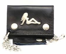 Trifold USA Made Genuine Leather Black Biker  Wallet w/ Woman Silhouette W/Chain