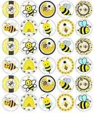 30 x Bumble Bee Edible Cupcake Toppers Wafer Paper Fairy Cake Topper