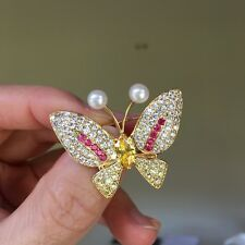 Freshwater Pearl Nature White Color Pretty Butterfly Gold Brooch/Pendant