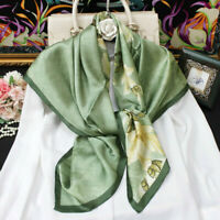 """WOMEN 100%MULBERRY SILK 41""""SQUARE SCARF SHAWL FLORAL PRINT #050201 HAND ROLLED"""